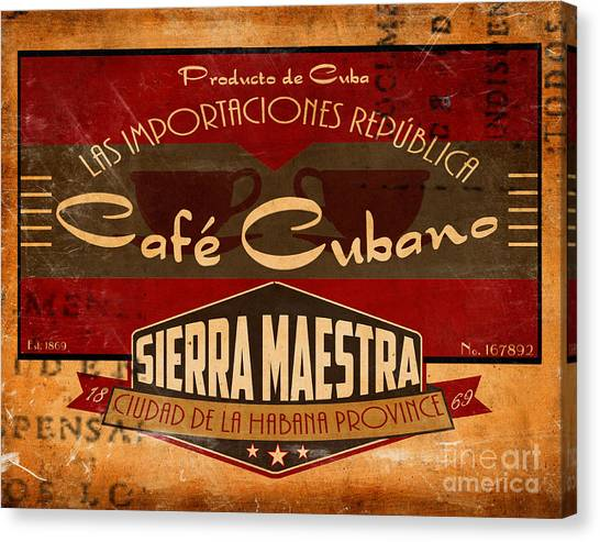 Cuban Canvas Print - Cafe Cubano Crate Label by Cinema Photography