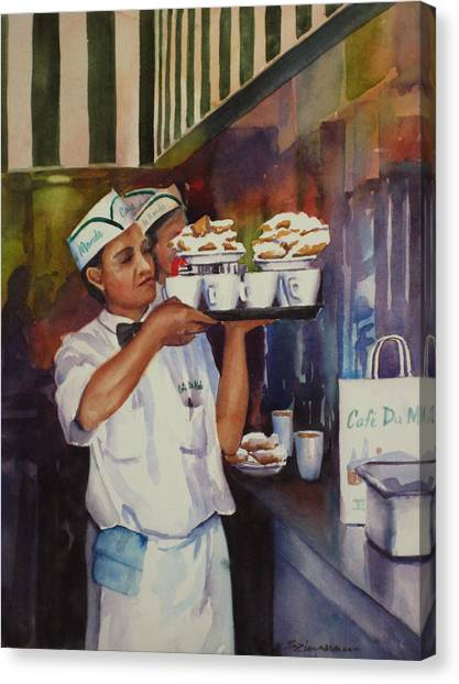 Cafe Du Monde Canvas Print by Sue Zimmermann