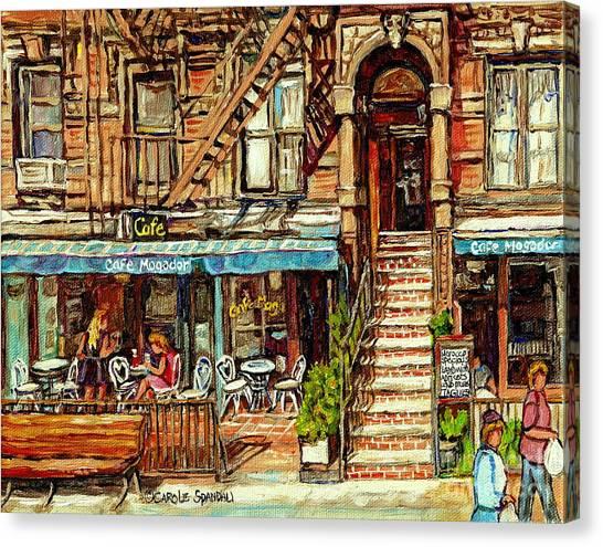 Cafe Mogador Moroccan Mediterranean Cuisine New York Paintings East Village Storefronts Street Scene Canvas Print