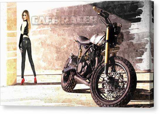 Yamaha Canvas Print - Cafe Racer by Peter Chilelli