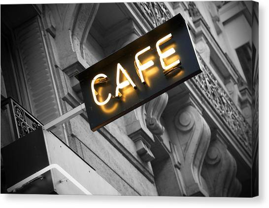 Cafes Canvas Print - Cafe Sign by Chevy Fleet