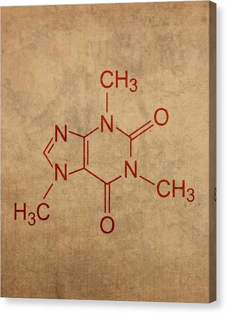 Molecule Canvas Print - Caffeine Molecule Coffee Fanatic Humor Art Poster by Design Turnpike