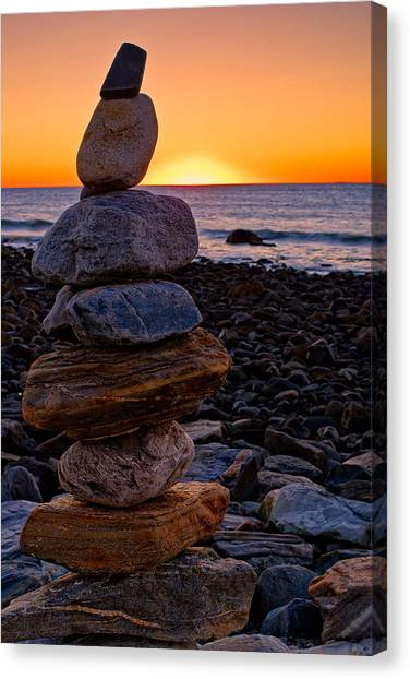 Cairn At Sunrise Rye Harbor Nh Canvas Print