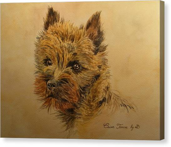 Watercolor Pet Portraits Canvas Print - Cairn Terrier Dog by Juan  Bosco