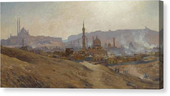 Jihad Canvas Print - Cairo Mist Dust And Fumes Evening by Etienne Dinet
