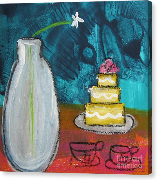 Cakes Canvas Print - Cake And Tea For Two by Linda Woods