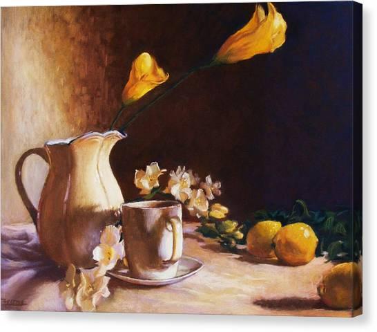 Cala Lily And Lemon Canvas Print