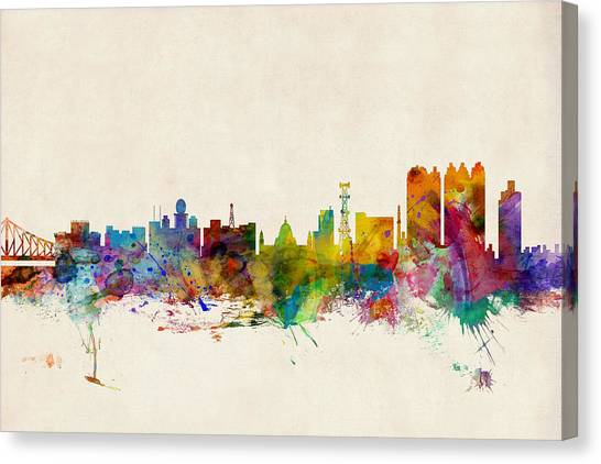 Indian Canvas Print - Calcutta India Skyline by Michael Tompsett