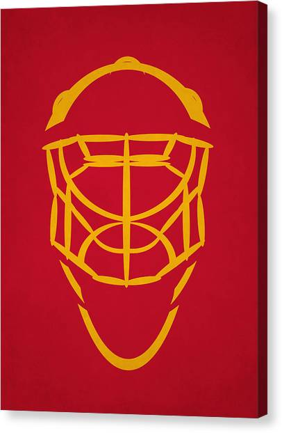 Calgary Flames Canvas Print - Calgary Flames Goalie Mask by Joe Hamilton