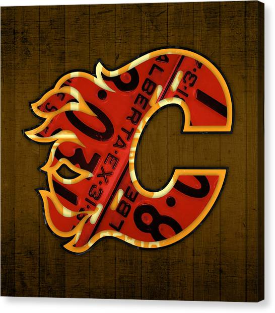 Calgary Flames Canvas Print - Calgary Flames Hockey Team Retro Vintage Logo Recycled Alberta Canada License Plate Art  by Design Turnpike