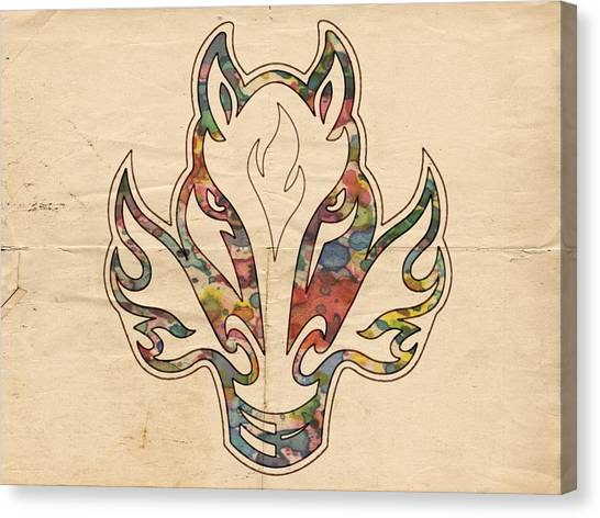 Calgary Flames Canvas Print - Calgary Flames Retro Poster by Florian Rodarte