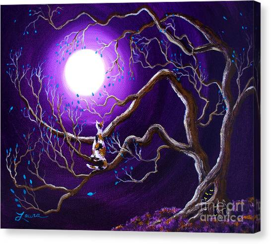 Calico Cats Canvas Print - Calico Cat In Haunted Tree by Laura Iverson