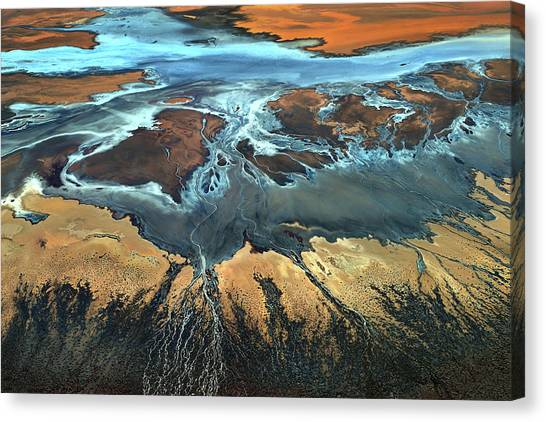 Deltas Canvas Print - California Aerial - The Desert From Above by Tanja Ghirardini