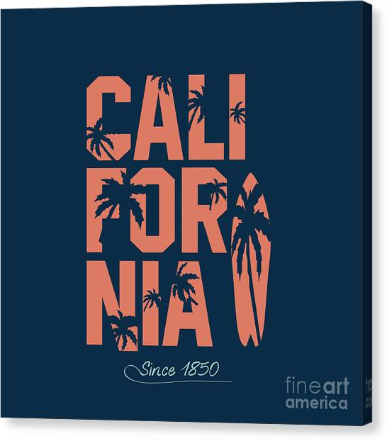 Navy Canvas Print - California Beach Typography Graphics by Yevgenij d
