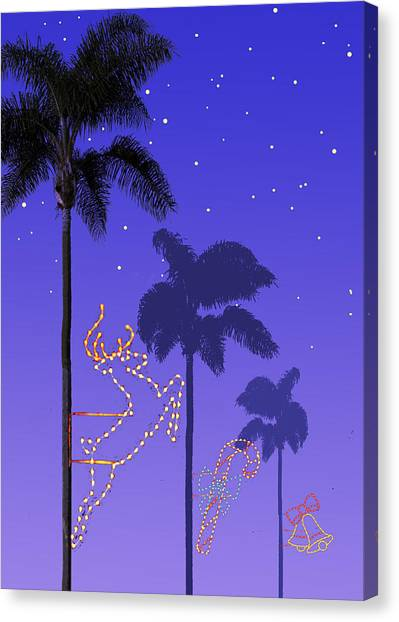 Reindeer Canvas Print - California Christmas Palm Trees by Mary Helmreich