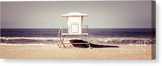 Lifeguard Canvas Print - California Lifeguard Tower Retro Panoramic Picture by Paul Velgos