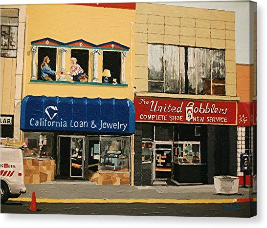 California Loan And United Cobblers Canvas Print by Paul Guyer