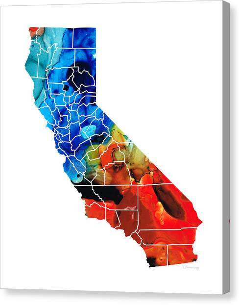Los Angeles Chargers Canvas Print - California - Map Counties By Sharon Cummings by Sharon Cummings