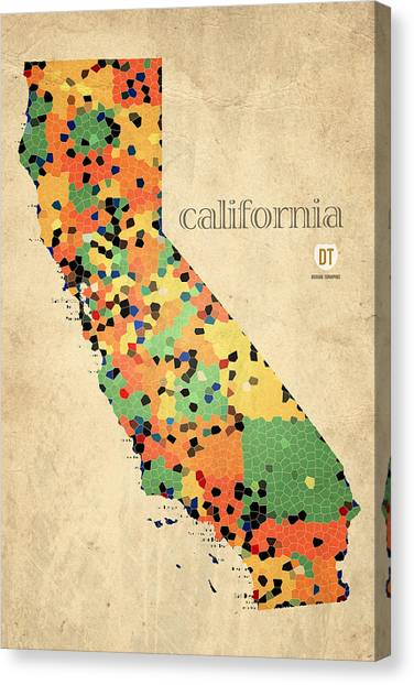 California Map Canvas Prints Fine Art America