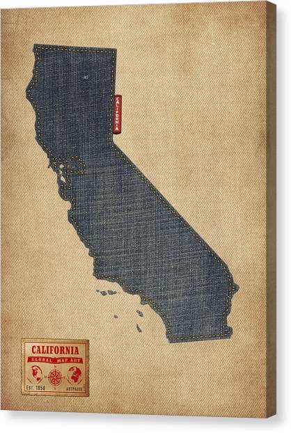 Coasts Canvas Print - California Map Denim Jeans Style by Michael Tompsett
