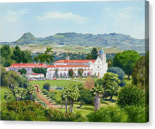 Mission Canvas Print - California Mission San Luis Rey by Mary Helmreich