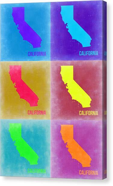 California Canvas Print - California Pop Art Map 2 by Naxart Studio