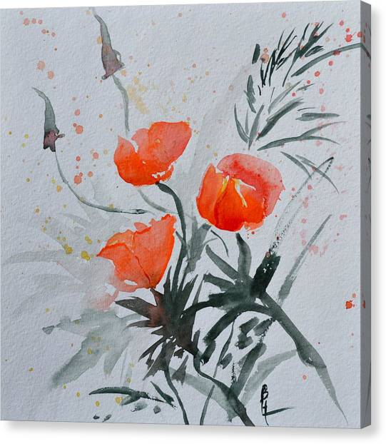 California Poppies Sumi-e Canvas Print