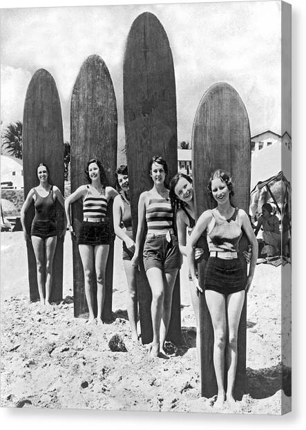 Surfboard Canvas Print - California Surfer Girls by Underwood Archives