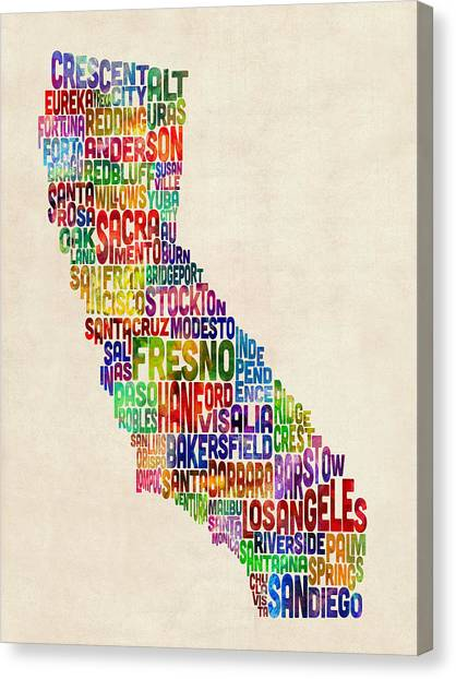 Los Angeles Canvas Print - California Typography Text Map by Michael Tompsett