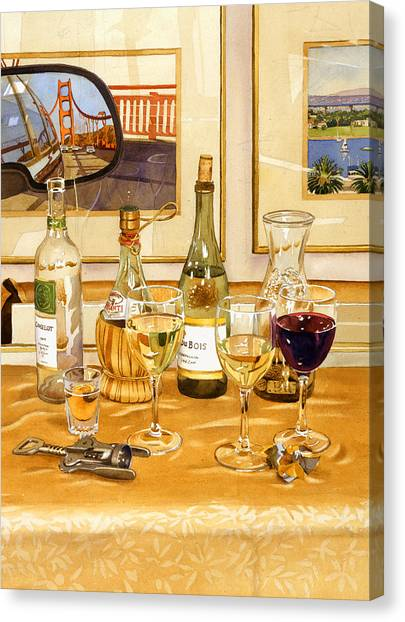 Red Wine Canvas Print - California Wine And Watercolors by Mary Helmreich