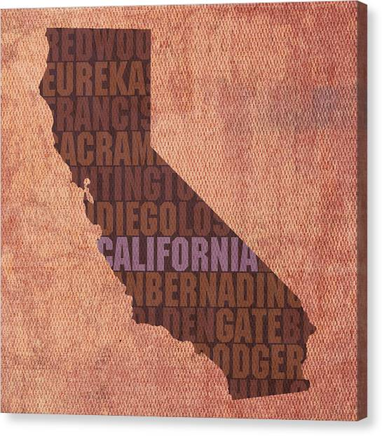 Coasts Canvas Print - California Word Art State Map On Canvas by Design Turnpike