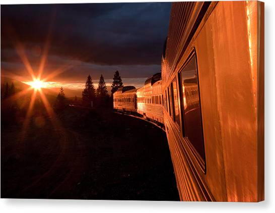 Railroads Canvas Print - California Zephyr Sunset by Ryan Wilkerson