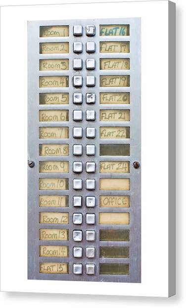 Selection Canvas Print - Call Buttons by Tom Gowanlock
