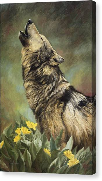 Howling Wolves Canvas Print - Call Of The Wild by Lucie Bilodeau