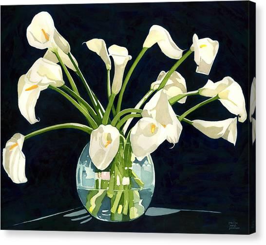 Calla Lilies In Vase Canvas Print