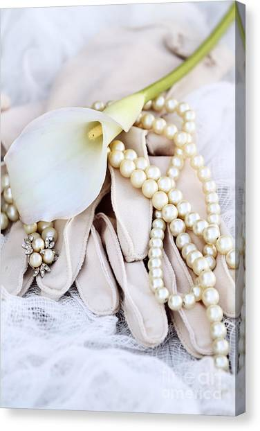 Calla Lily With Pearls Canvas Print