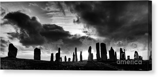 Rainclouds Canvas Print - Callanish Standing Stones Monochrome by Tim Gainey