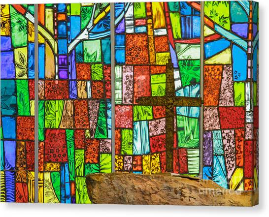 Callaway Gardens Chapel Alter Stone And Stained Glass Window Canvas Print