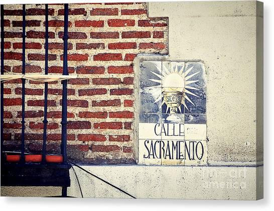 Prado Canvas Print - Calle Sacramento Madrid Street Sign by Ivy Ho