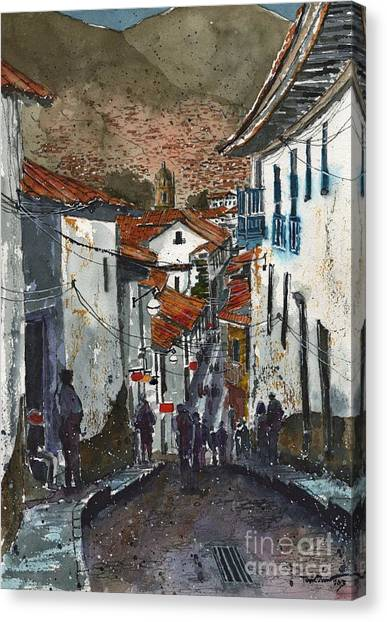 Peruvian Canvas Print - Calle Triunfo In Cusco Peru by Tim Oliver
