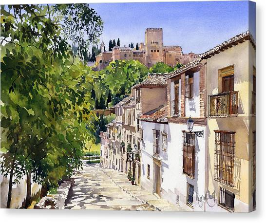 Alhambra Canvas Print - Calle Victoria Granada by Margaret Merry
