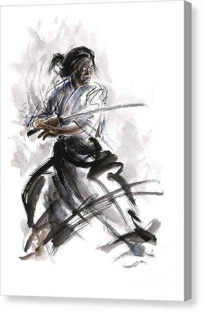 Samurai Canvas Print - Calligraphy Style. by Mariusz Szmerdt