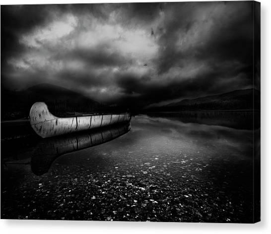 Canoe Canvas Print - Calm After Drowing by David Senechal Photographie