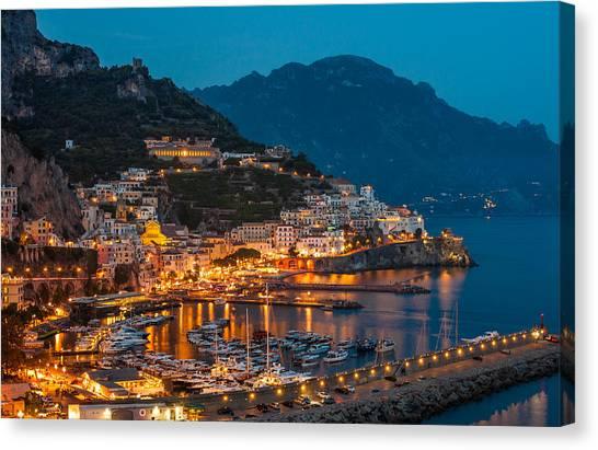 Calm Night Over Amalfi Coast Canvas Print