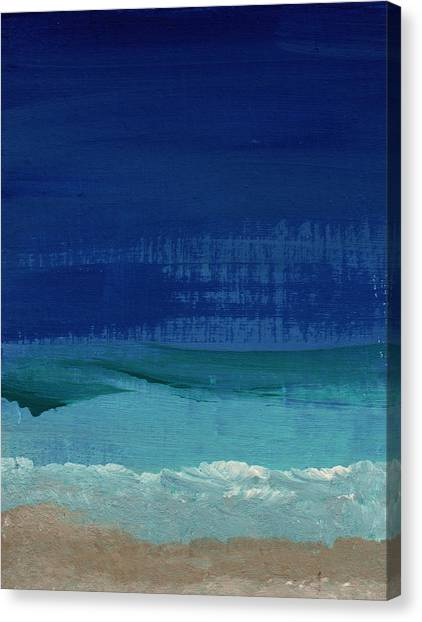 Santa Monica Canvas Print - Calm Waters- Abstract Landscape Painting by Linda Woods