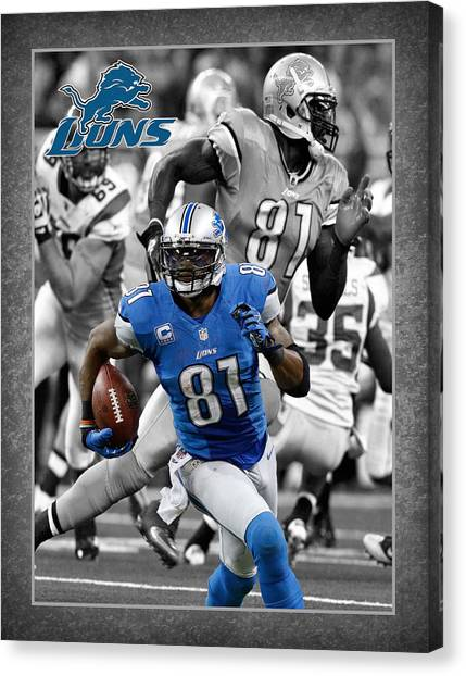 Detroit Lions Canvas Print - Calvin Johnson Lions by Joe Hamilton