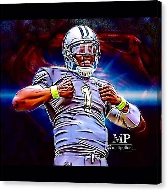 Panthers Canvas Print - Cam Newton Pro Bowl Edit! Version 2 by Matt Pollock