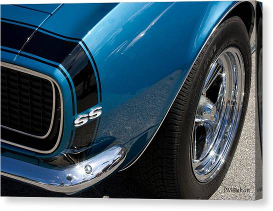 Camaro In Blue Canvas Print by Paulette Moran Dalton
