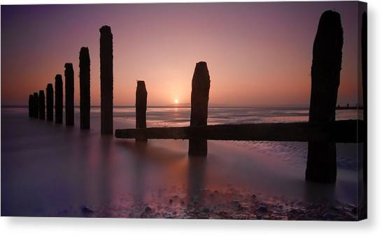 Camber Sands Sunset Canvas Print by Mark Leader