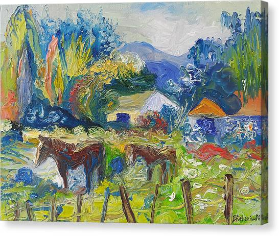 Cambridge Horses Original Artwork By Ekaterina Chernova Canvas Print